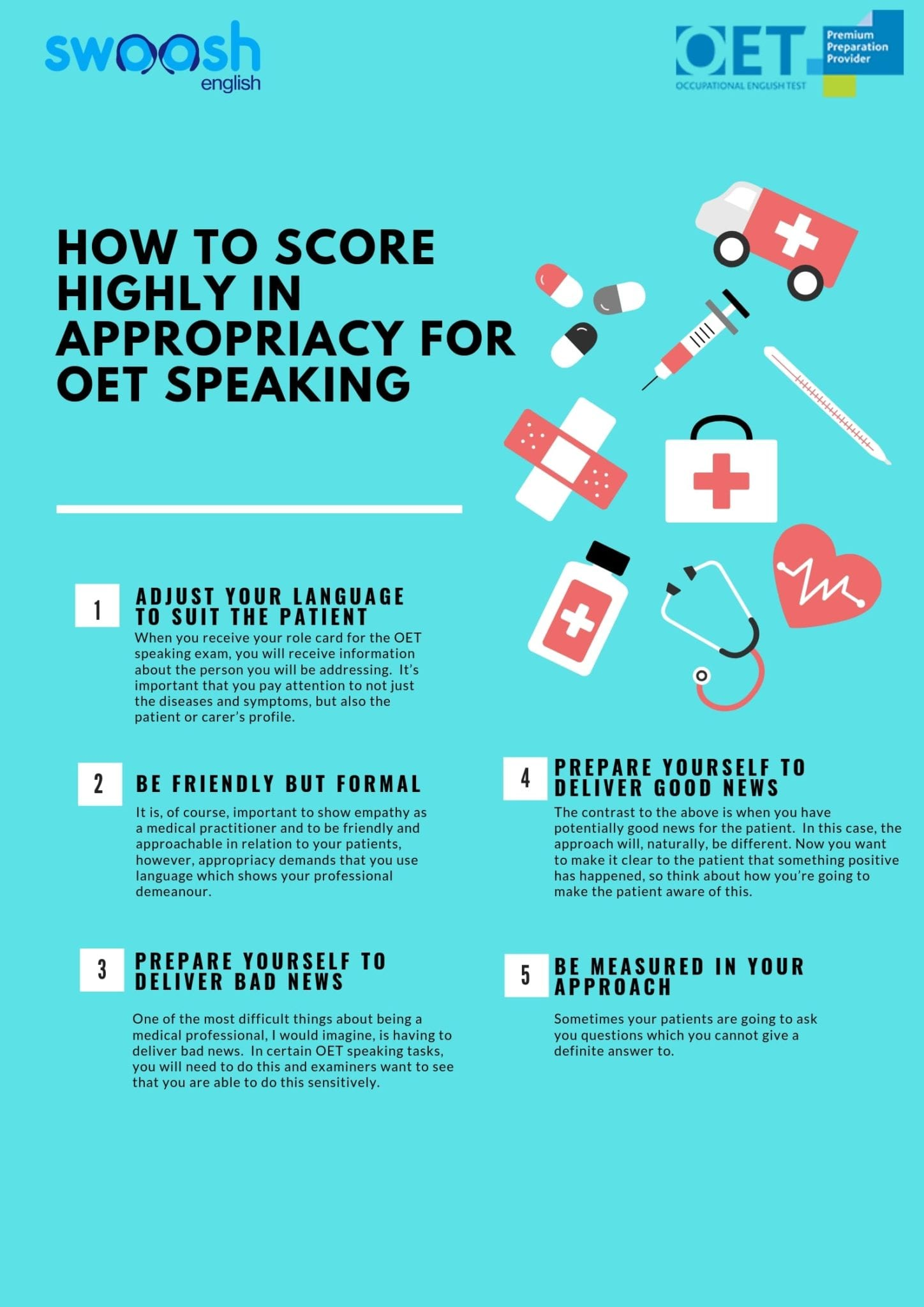 How to score highly in appropriacy for OET Speaking infographic