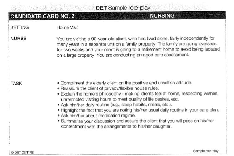 OETexam Speaking Role Play Card